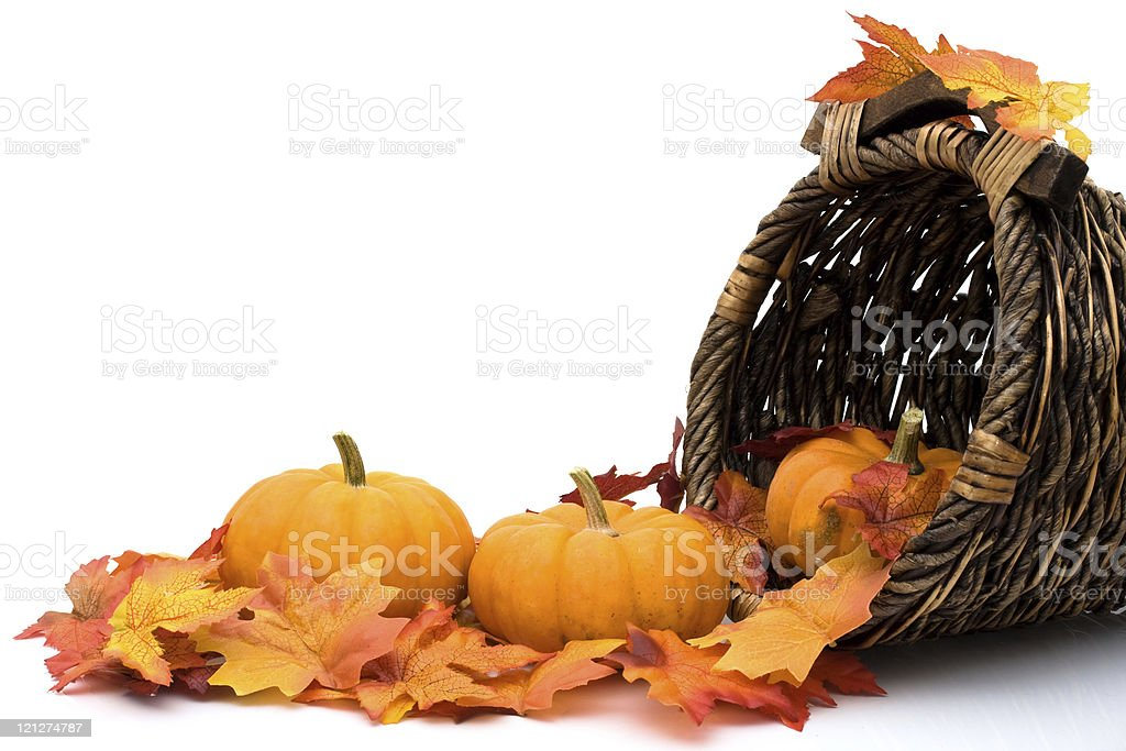 Pumpkins and autumn leaves falling out of a cornucopia stock photo