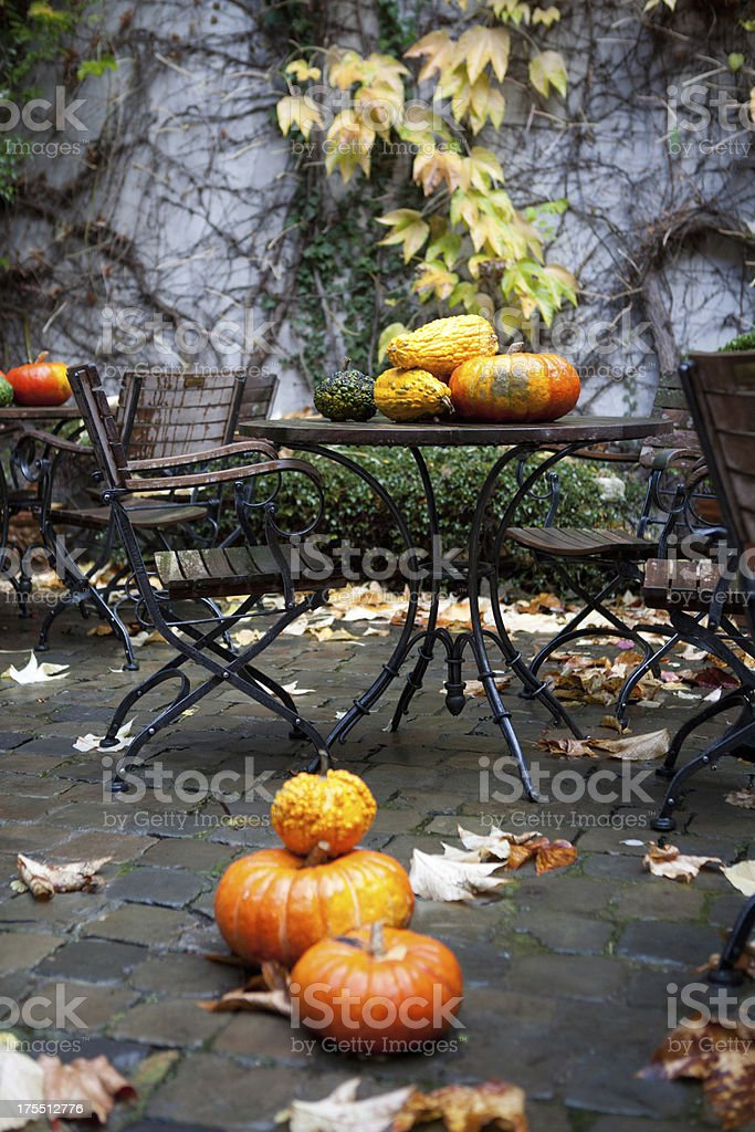 Pumpkins and fallen leaves in a patio stock photo