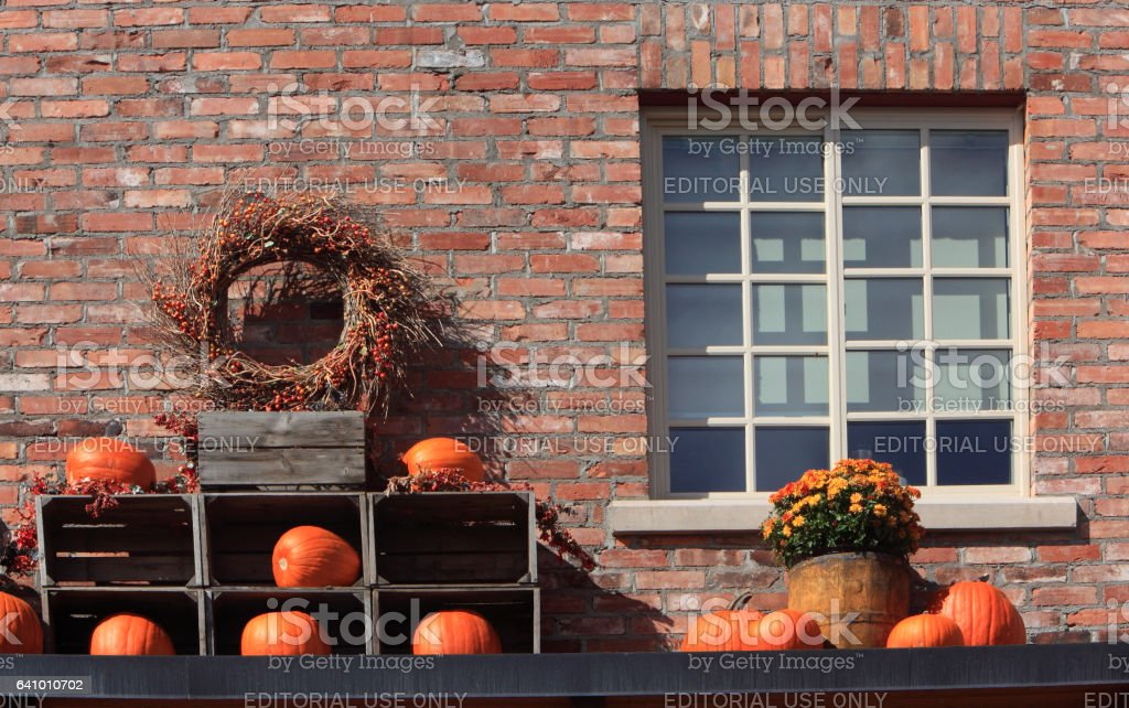 Pumpkins And Old Brick Display Symbolizing Autumn stock photo
