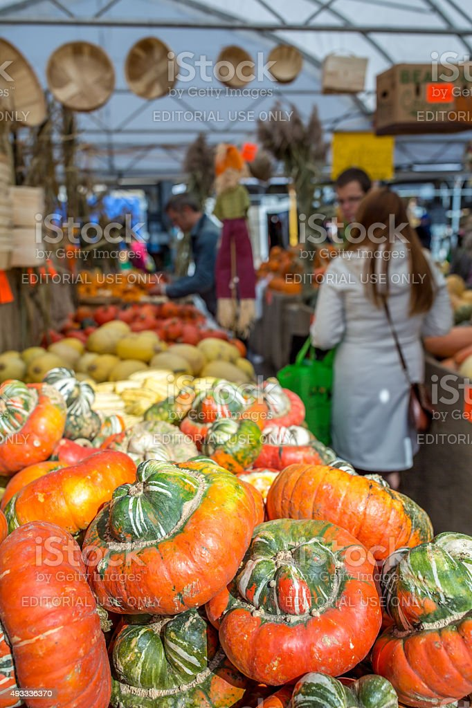 Pumpkins and Squash in Market Stall of Jean-Talon Market, Montreal stock photo