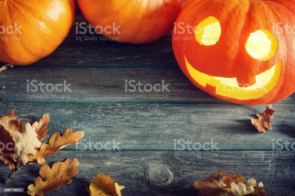 pumpkins for halloween with spooky faces stock photo