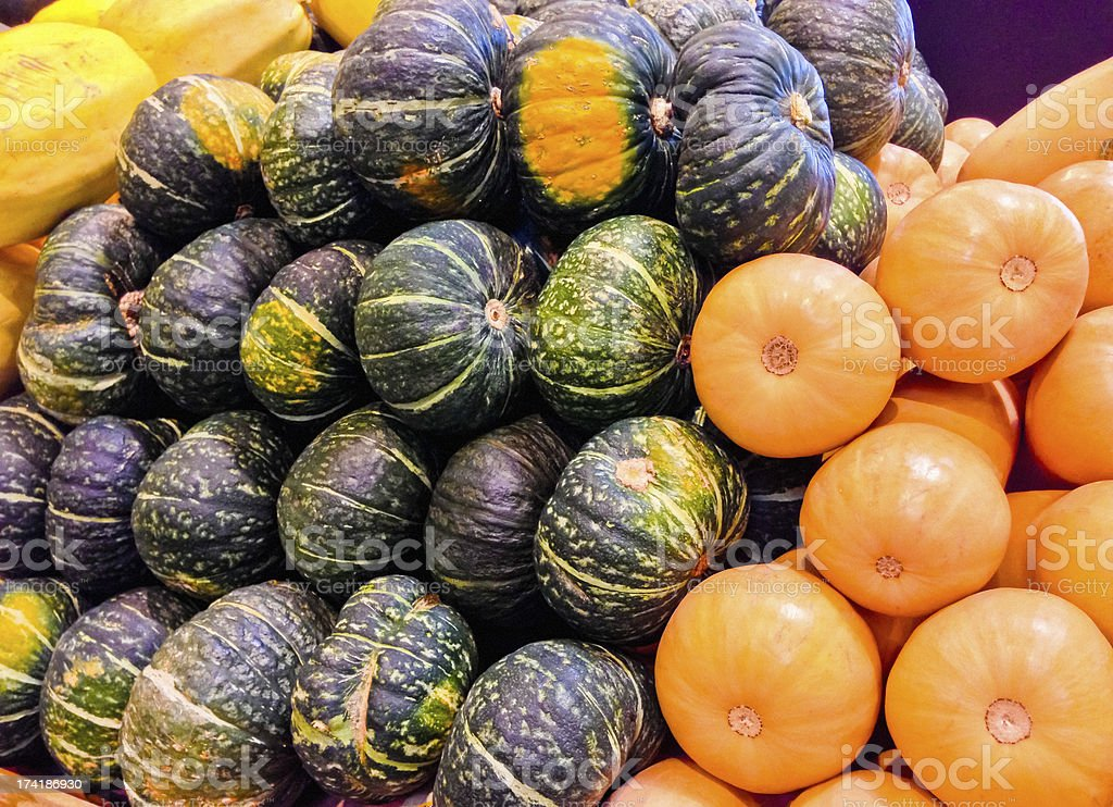 Pumpkins for sale on farmer's market royalty-free stock photo