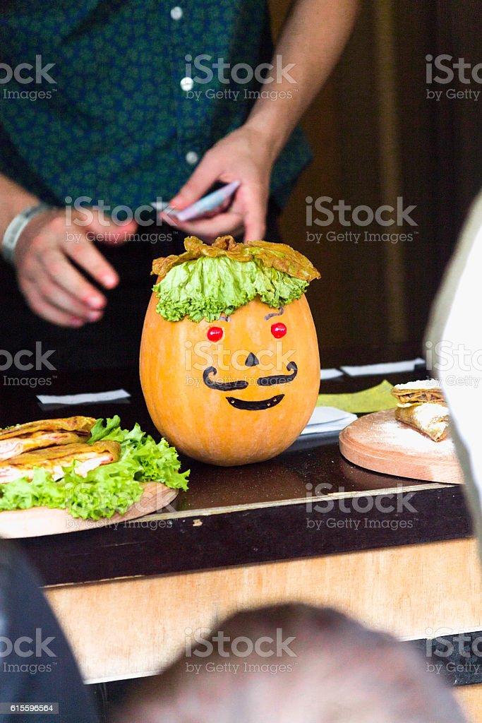 Pumpkin's head. stock photo