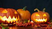 Pumpkins in dark