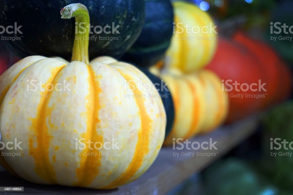 Pumpkins on a shelf stock photo