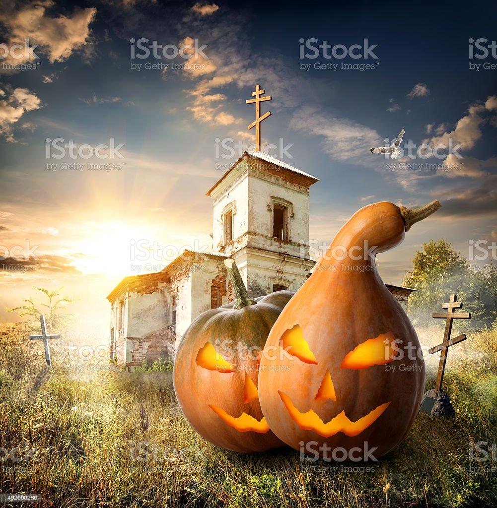 Pumpkins on churchyard stock photo