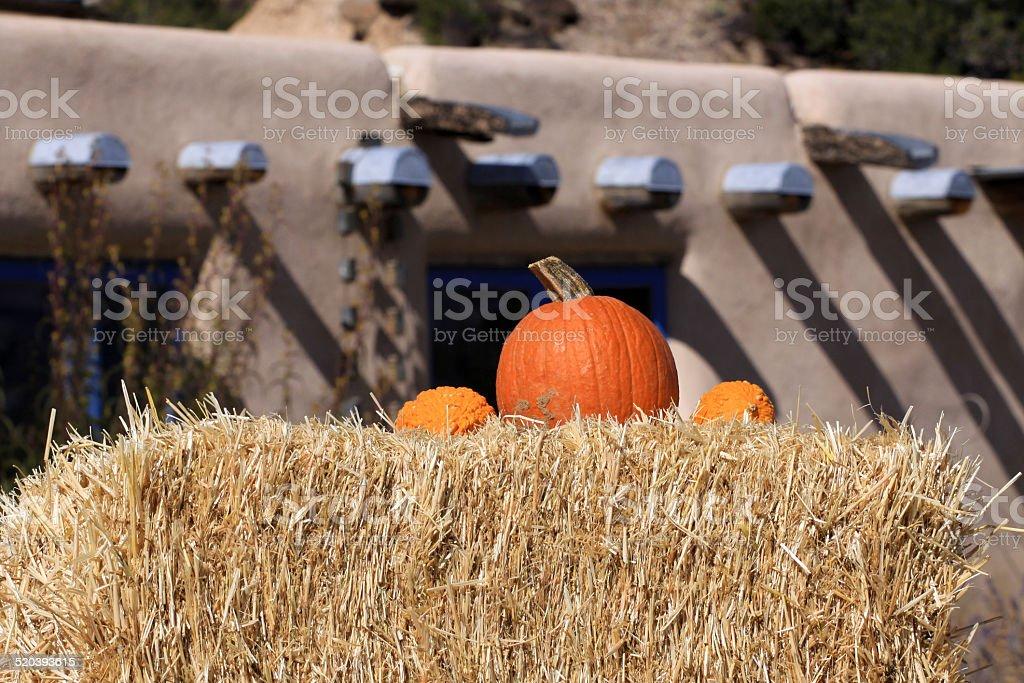 Pumpkins on Haybale stock photo