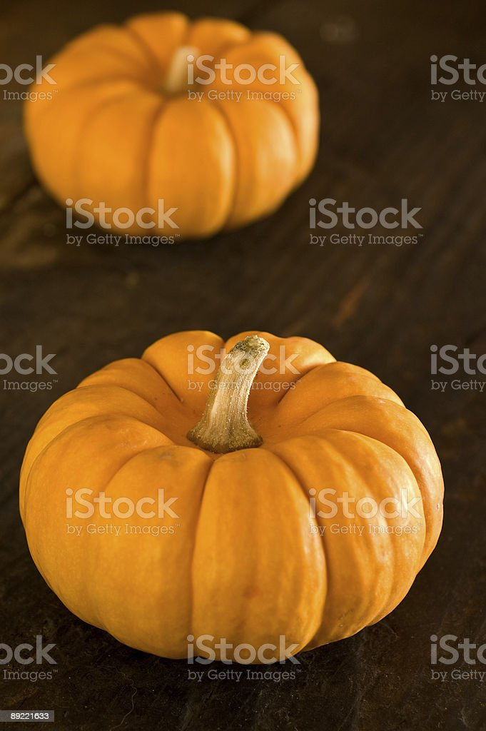 Pumpkins on wood royalty-free stock photo