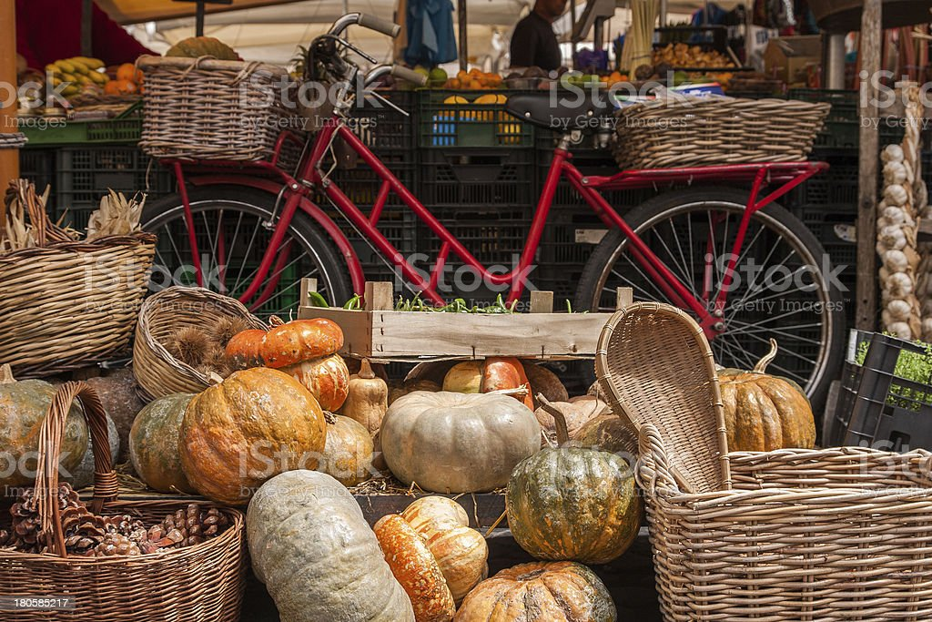 Pumpkins stand at the fair royalty-free stock photo