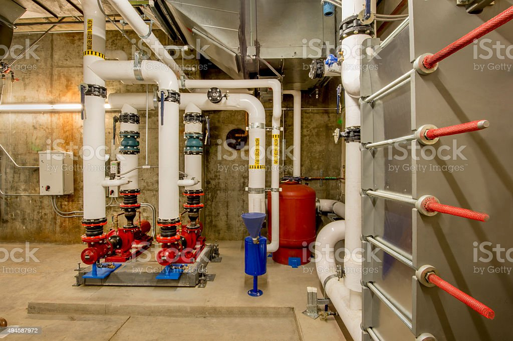 Pumps and Heat Exchanger for HVAC stock photo