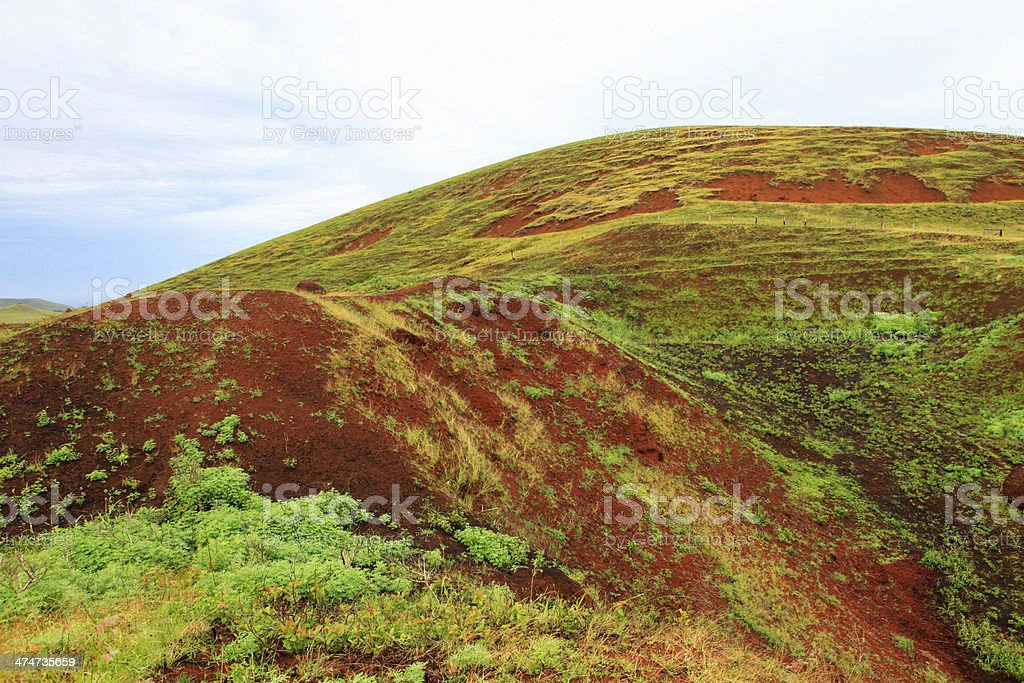 Puna Pau Quarry - Easter Island stock photo