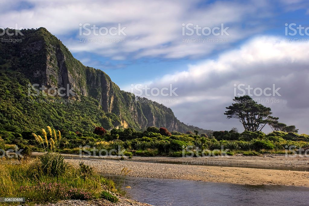 Punakaiki cliffs and river mouth, South Island, New Zealand stock photo