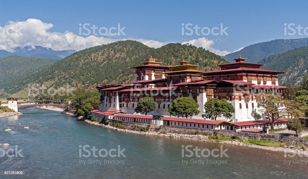 Punakha Dzong in Bhutan stock photo