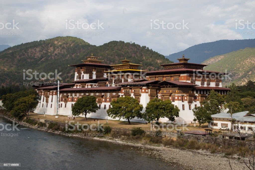 Punakha Dzong in Punakha, Bhutan stock photo