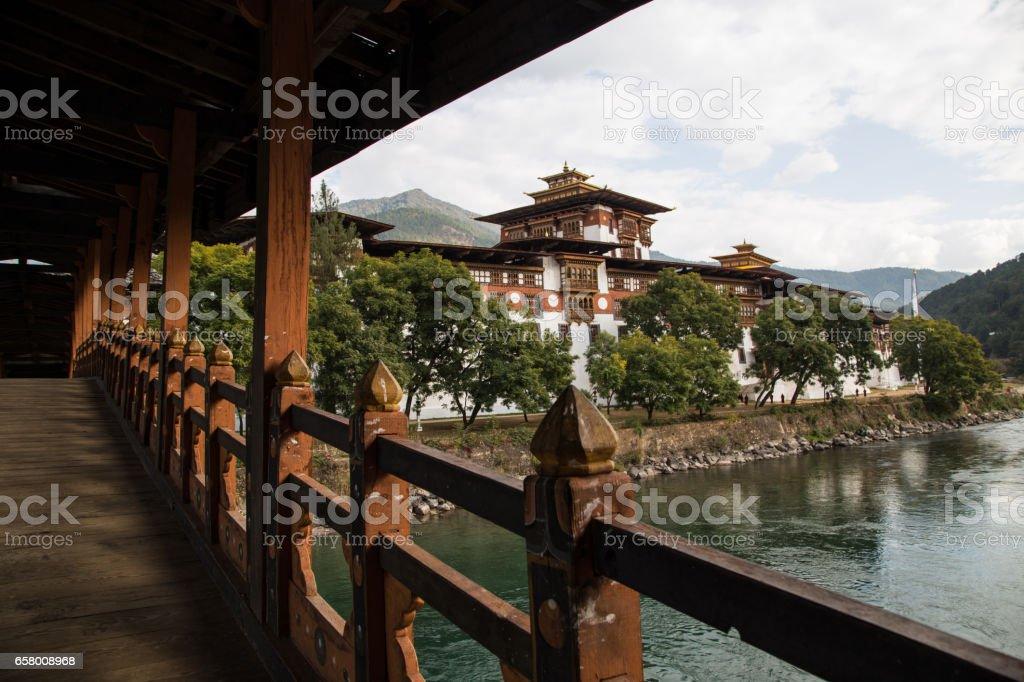 'Punakha Dzong (Punakha monastery)' view from the bridge, Bhutan stock photo