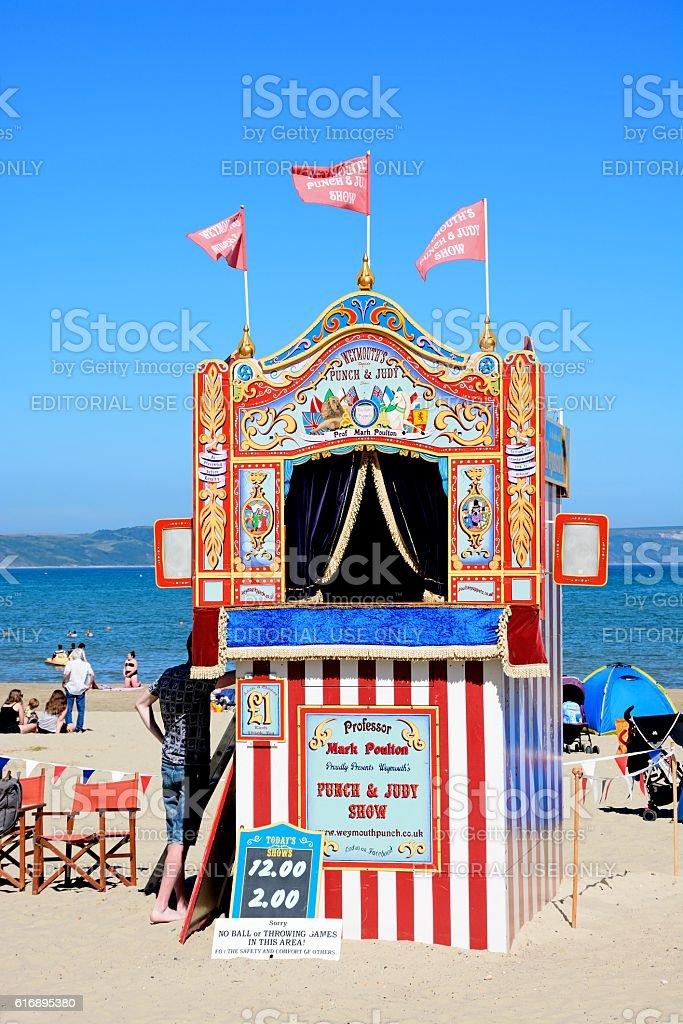 Punch and Judy hut on Weymouth beach. stock photo