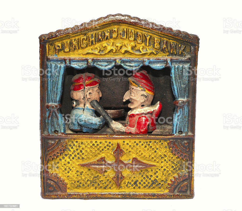 Punch and Judy money bank stock photo