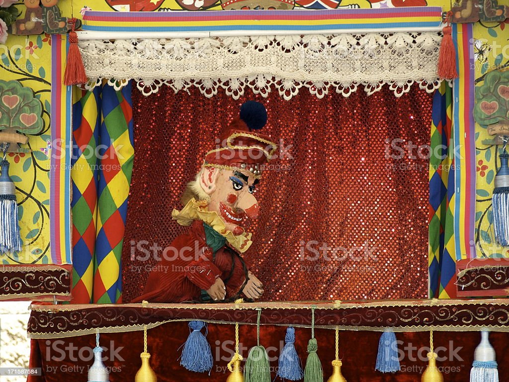 Punch and Judy stall, Jersey. stock photo