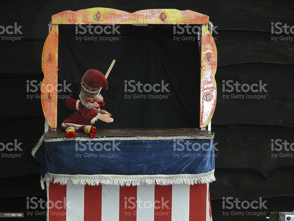 Punch and Judy stall stock photo