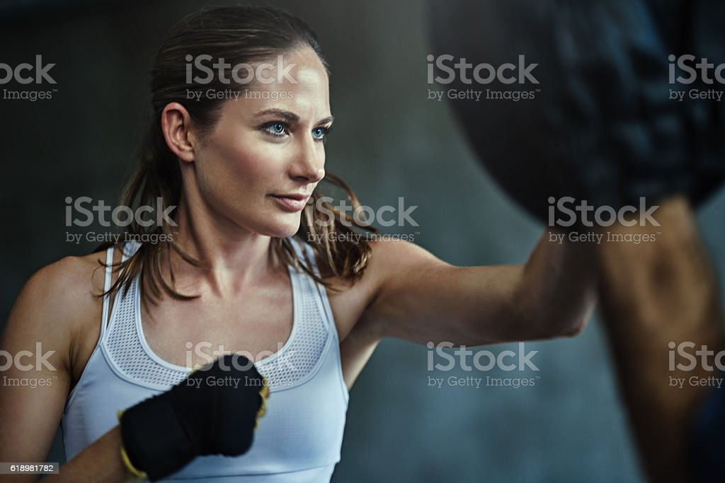 Punch away the pounds stock photo