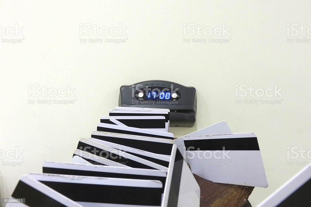 punch card - sing out 17:00 stock photo