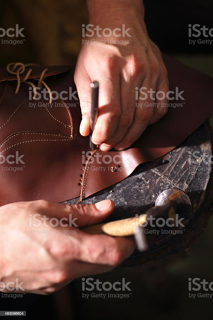 Punch skin for shoes.. stock photo