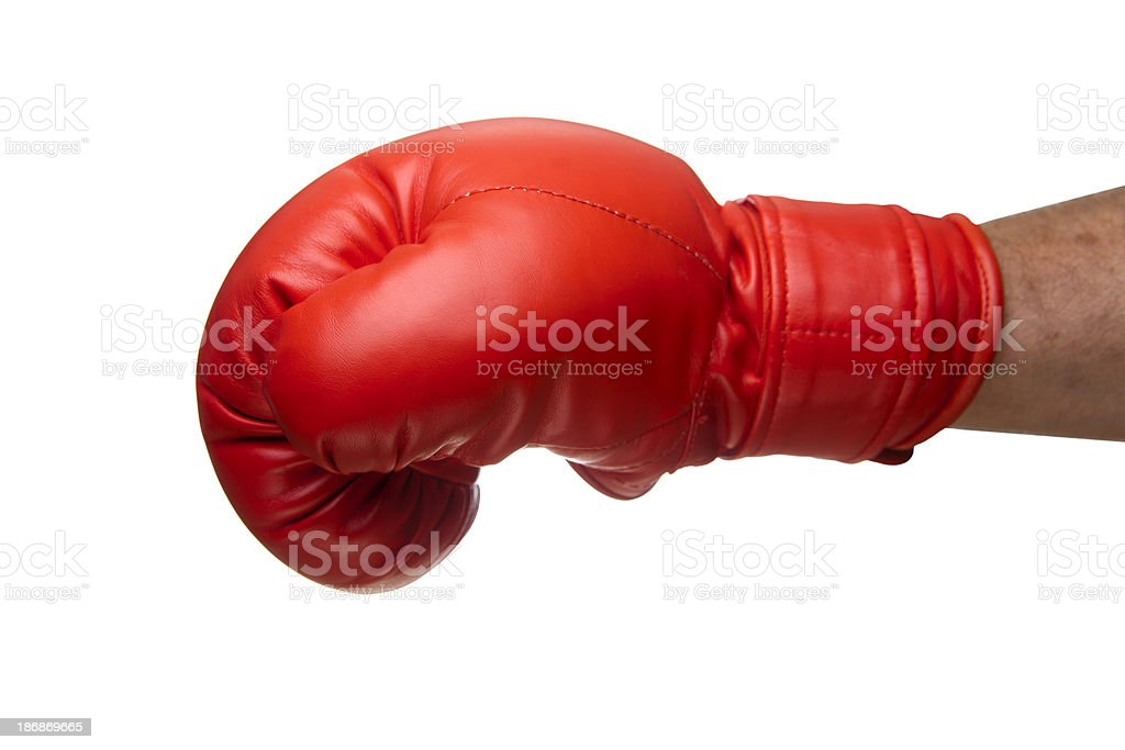 Punch with a boxing glove stock photo