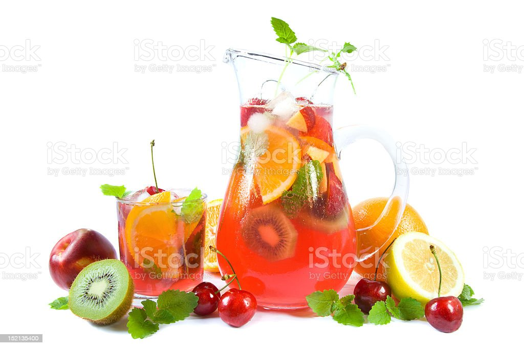 Punch with fruits royalty-free stock photo