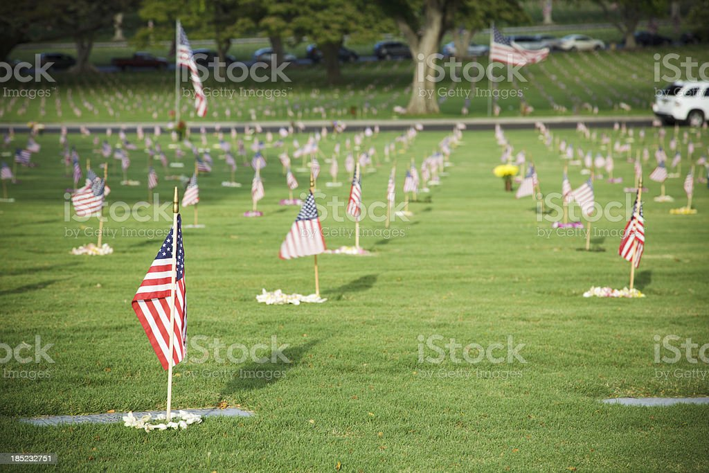 Punchbowl Cemetery, Memorial Day, Oahu, Hawaii stock photo