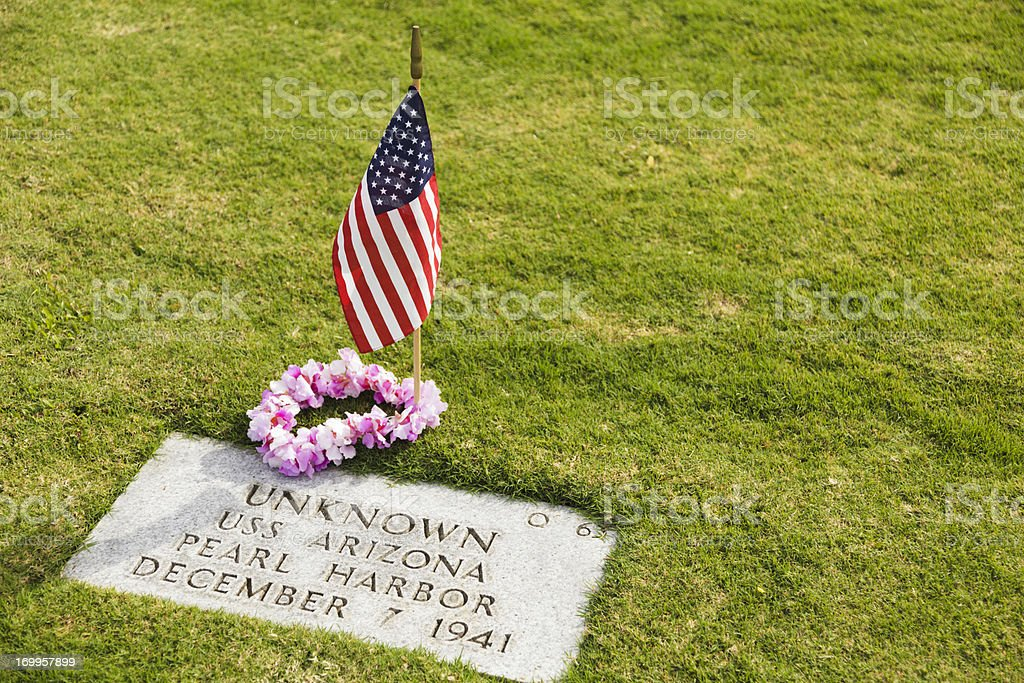 Punchbowl Cemetery unknown USS Arizona grave site stock photo