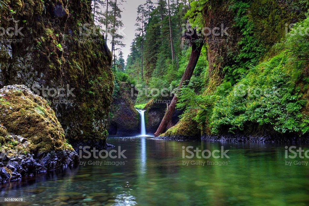 Punchbowl Falls, Saturated in Colors stock photo