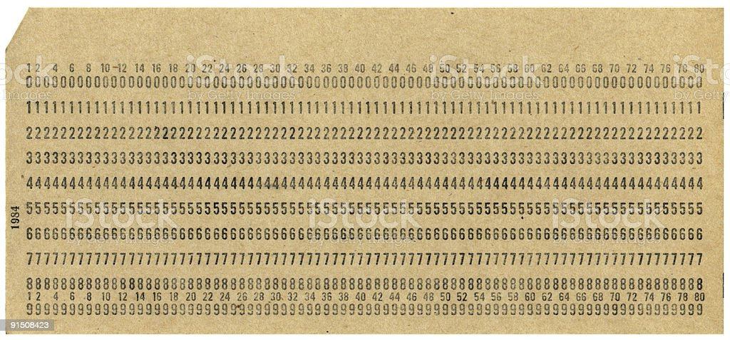 punchcard stock photo