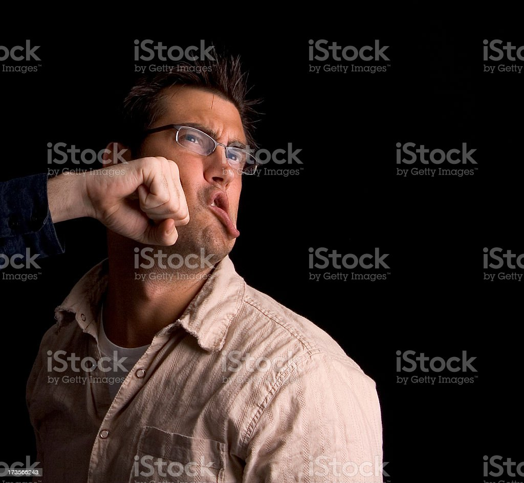 Punched royalty-free stock photo