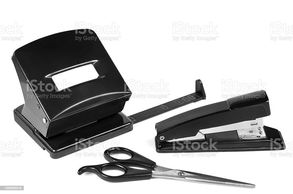 Puncher, scissors, stapler royalty-free stock photo