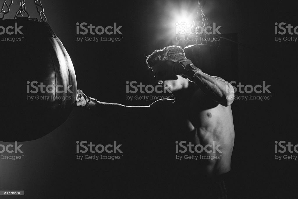 Punching Bag Boxer stock photo