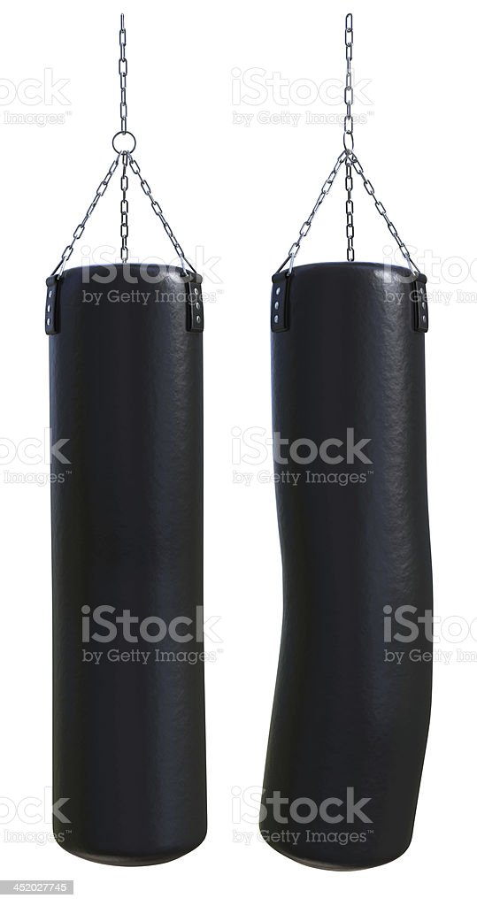 Punching bag (before and after hit) stock photo