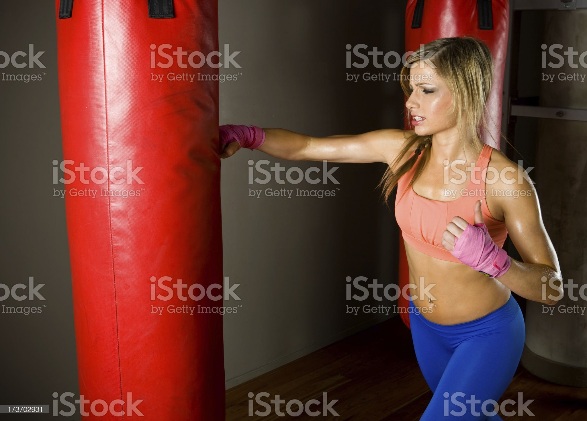 Punching bag workout royalty-free stock photo