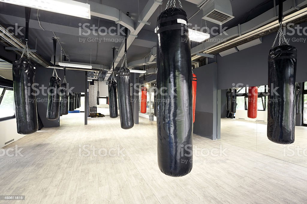 Punching bags in spacious gym stock photo