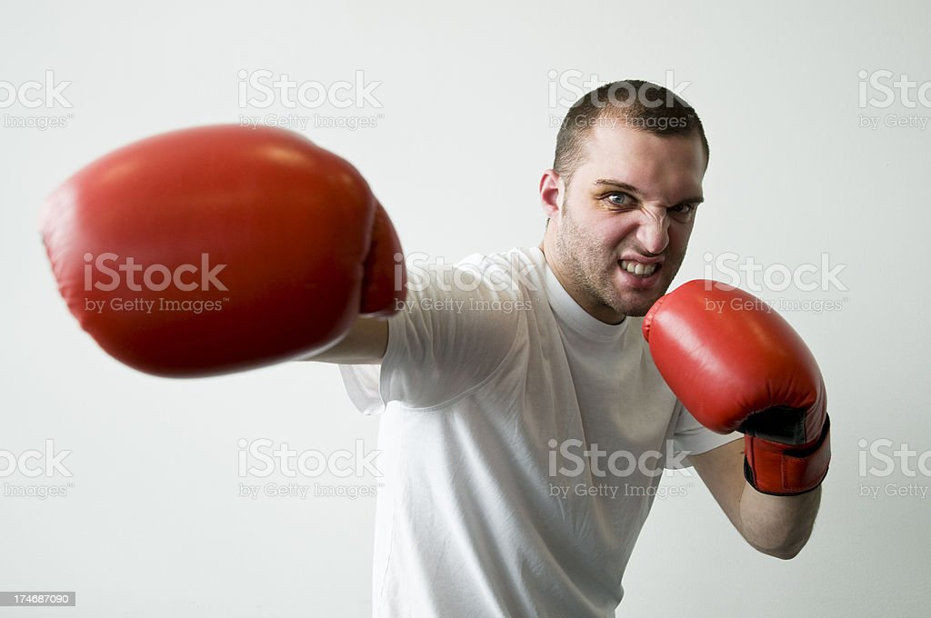 punching boxer royalty-free stock photo