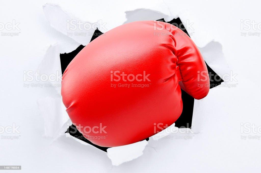 punching boxing glove stock photo