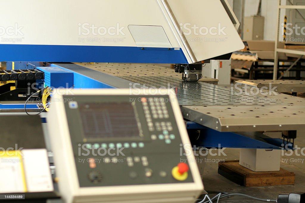 Punching machine and work conveyor stock photo