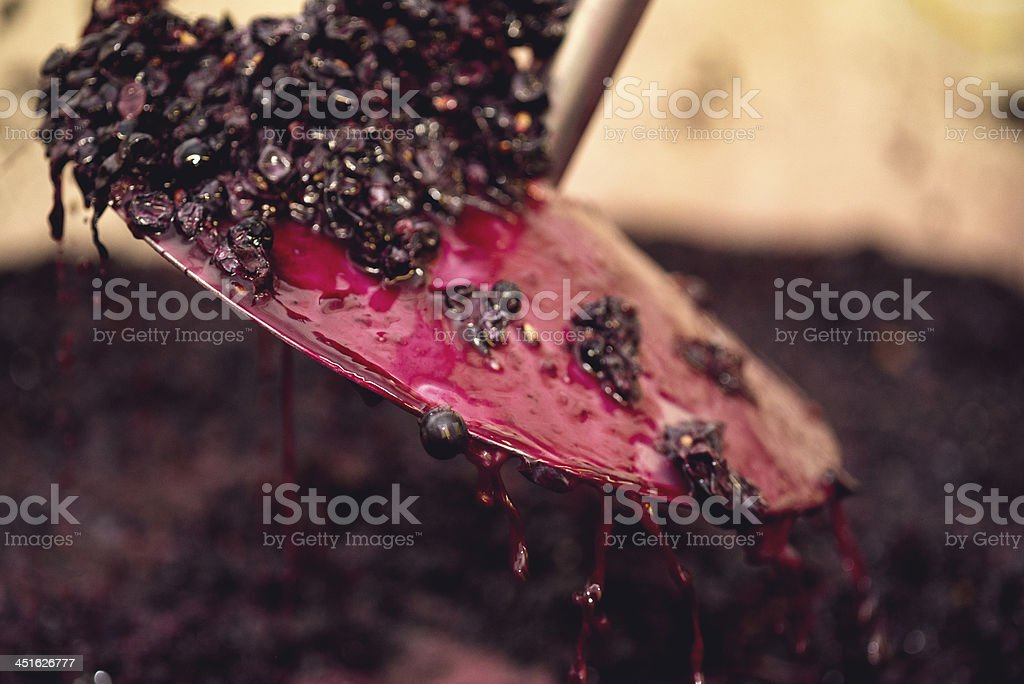 Punching the cap - Red Wine stock photo