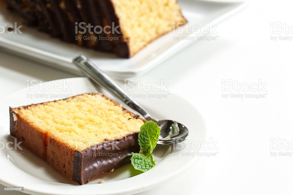 Pund cake sliced, selective focus stock photo