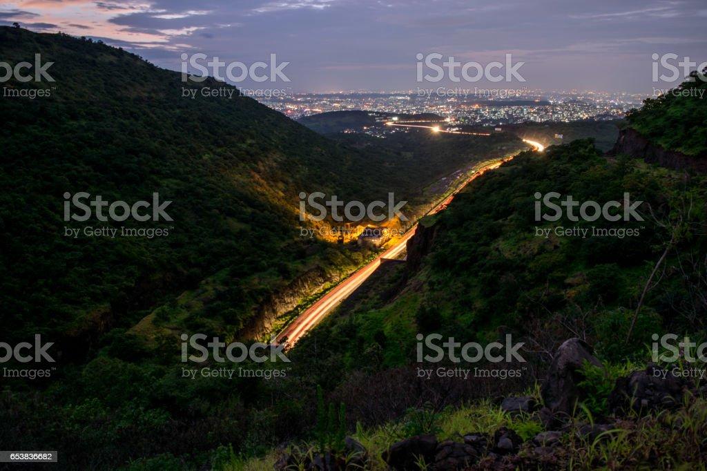 Pune City at Night stock photo