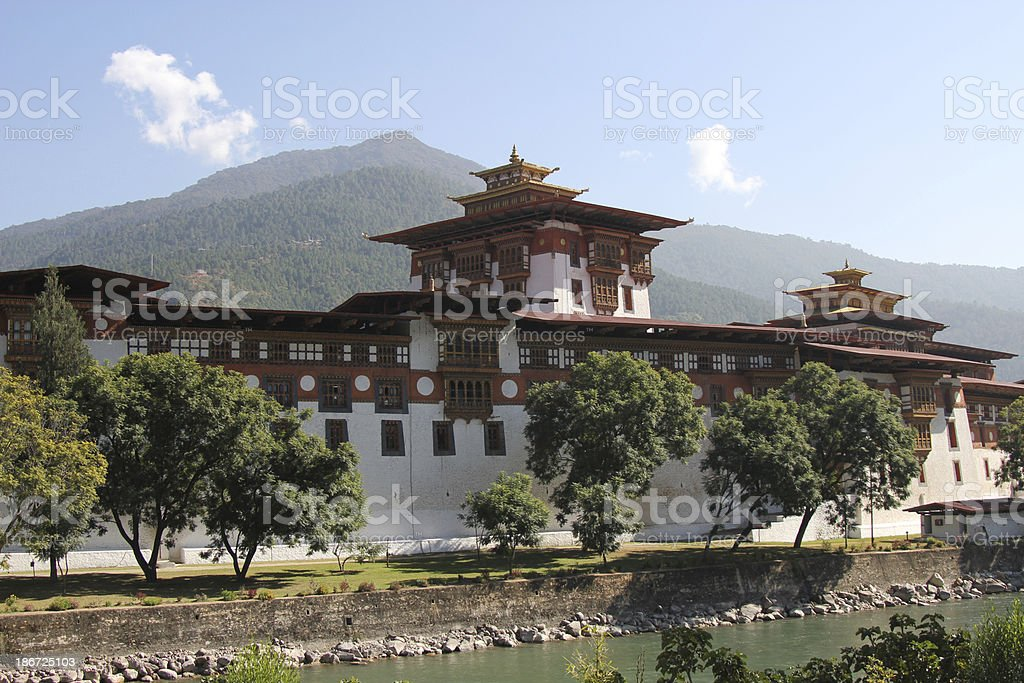 Pungthang Dewachen Phodrang (Palace of Great Happiness) in Bhutan stock photo