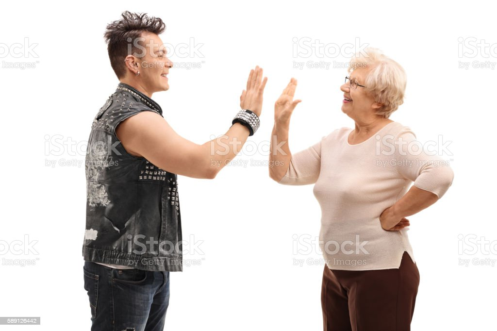 Punk and his grandma doing a high five stock photo