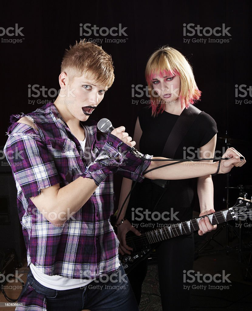 Punk band playing music, 80s style stock photo