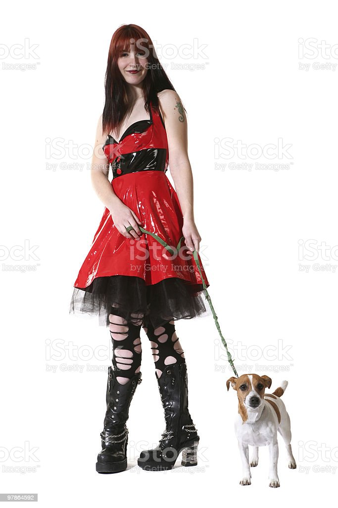 punk fashion girl with dog royalty-free stock photo