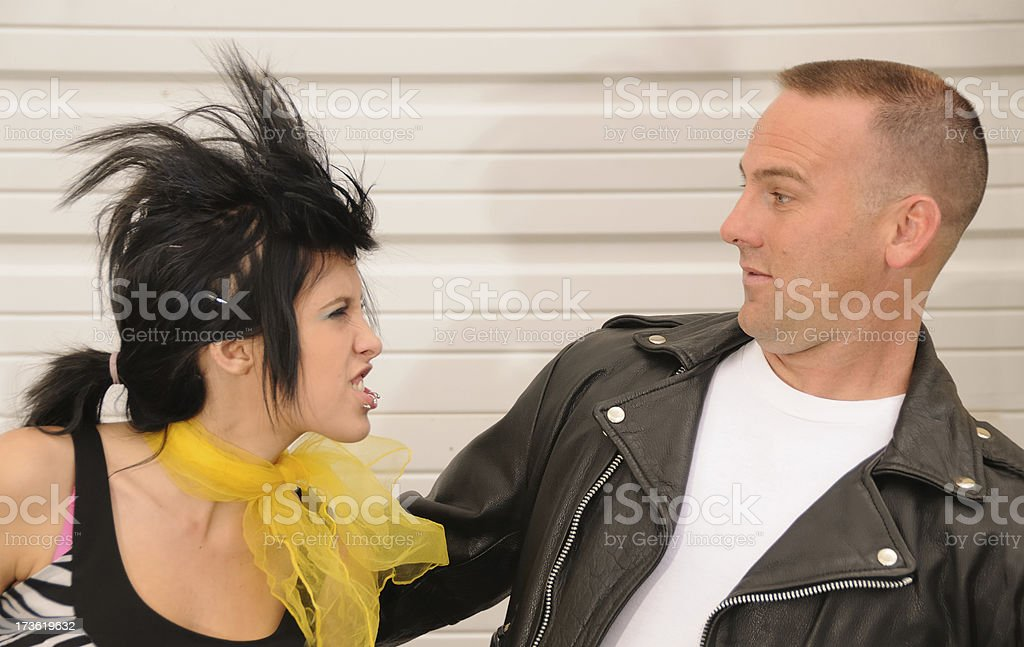 Punk girl in her Fathers Face stock photo