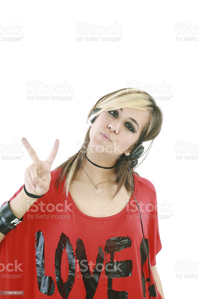 punk girl with headphones royalty-free stock photo